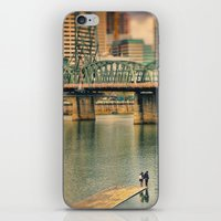 portlandia iPhone & iPod Skins featuring Lovers Under the Bridge by Danielle Denham