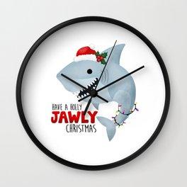 Have A Holly Jawly Christmas Shark Wall Clock