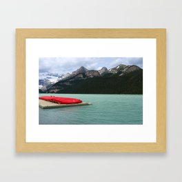 Lake Louise Red Canoes Framed Art Print