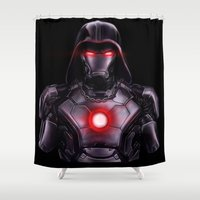 ironman Shower Curtains featuring IronMan / DarthVader by Jason Cumbers