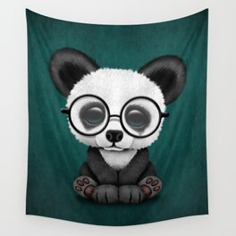 Cute Panda Bear Cub with Eye Glasses on Teal Blue Wall Tapestry