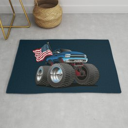 Monster Pickup Truck with USA Flag Cartoon Rug