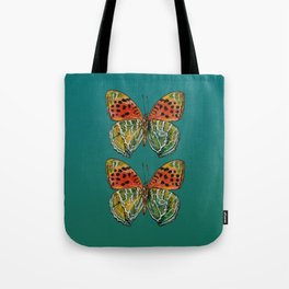 Himalayan Fritillary Butterfly - Emerald Green & Orange Red Tote Bag