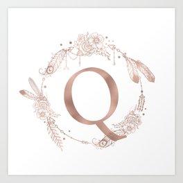 Letter Q Rose Gold Pink Initial Monogram Kunstdrucke