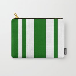 Mixed Vertical Stripes - White and Dark Green Carry-All Pouch