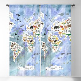 Cartoon animal world map, back to school. Animals from all over the world, blue watercolor  Blackout Curtain
