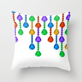 Colorful jewel stones in jewel tones rain curtain Throw Pillow