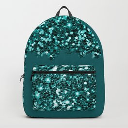 Sparkly Glam Dark Teal Glitter Gradient Collection Backpack
