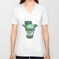 pasta V-neck T-shirts featuring Pasta Pudding by Luna Aldrin