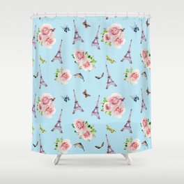 Pattern Paris and roses flowers watercolor Shower Curtain