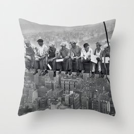 Lunch On A Skyscraper Throw Pillow