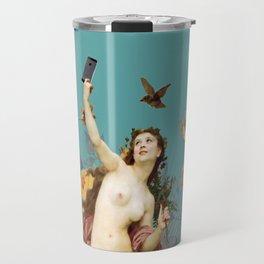 Selfie (blue) Travel Mug