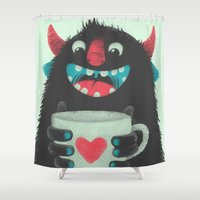 demon Shower Curtains featuring Demon with a cup of coffee by Lime