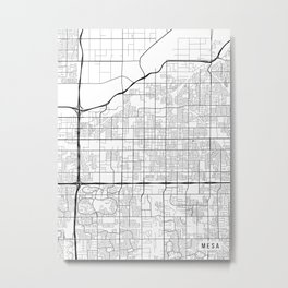 Mesa Map, Arizona USA - Black & White Portrait Metal Print