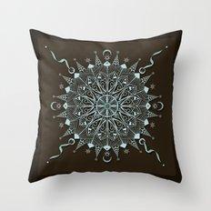 Aqua Leaf Star Mandala Throw Pillow