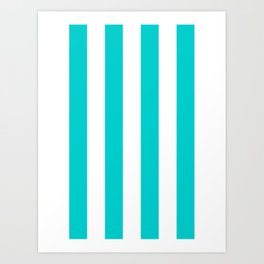 Vertical Stripes - White and Cyan Art Print