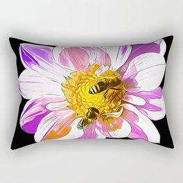 bees on flower vector art Rectangular Pillow