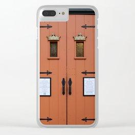 Orange Church Doors Clear iPhone Case