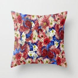 Red White Blue Flora Throw Pillow