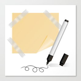 Black marker, yellow sticker with scotch tape Canvas Print