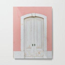 Old Pastel Door in Lisbon - Portugal Fine Art Travel Photography Metal Print
