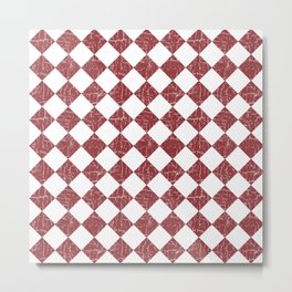 Rustic Farmhouse Checkers in Brick Red and White Metal Print