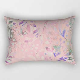 Soft Pink Pastel Floral Watercolor Pattern Rectangular Pillow