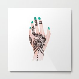 Modern watercolor hand  floral henna tattoo turquoise nails Metal Print