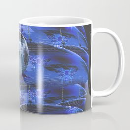 Disco Bee Hive Silver and Blue and Black Coffee Mug