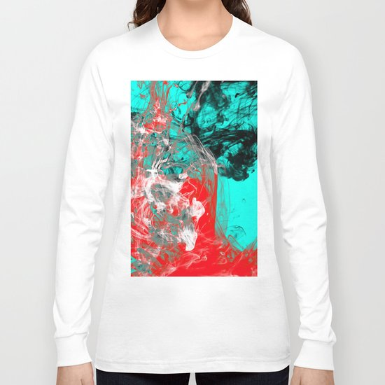 Marbled Collision - Abstract, red, blue, black and white mixed paint artwork Long Sleeve T-shirt