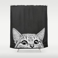 cat coquillette Shower Curtains featuring You asleep yet? by Laura Graves