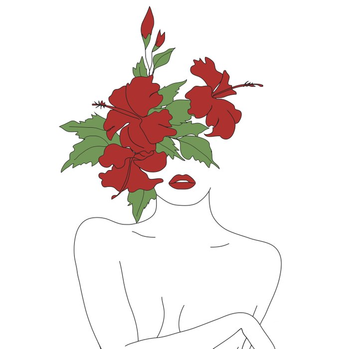 Minimal Line Art Woman with Hibiscus Duvet Cover