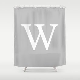 Silver Gray Basic Monogram W Shower Curtain