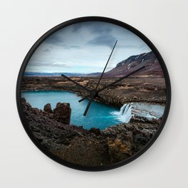 Lake Mountain sky blue Wall Clock