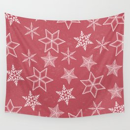 Snowflakes On Pastel Red Background Wall Tapestry