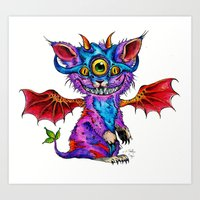 Fluffy Mind Creature  Art Print