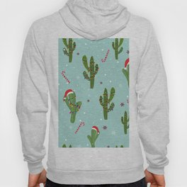 Cactus With Colorful Light Bulb. Merry Christmas and Happy New Year Seamless Pattern Hoody