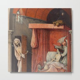 """Hieronymus Bosch """"Death and the Miser"""" Metal Print"""