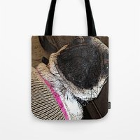 muppet Tote Bags featuring Pug Muppet by Red NCK Debutante