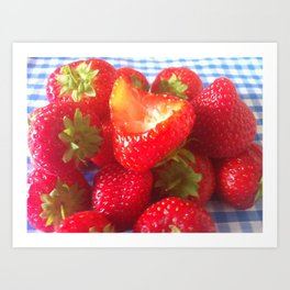 bitten strawberry  Art Print