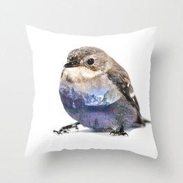 Bird Double Exposure Throw Pillow