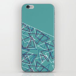 Colorful blue turquoise combined geometric pattern . Patchwork . iPhone Skin