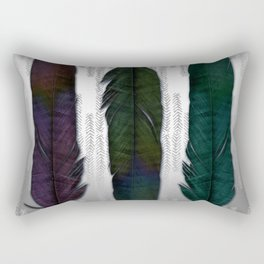 Feathers on silver Rectangular Pillow