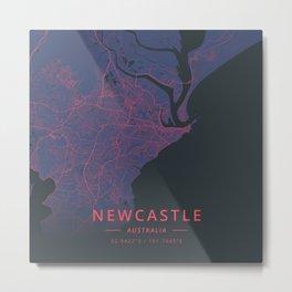 Newcastle, Australia - Neon Metal Print