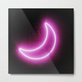 Moon (Neon) Metal Print