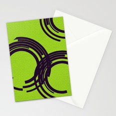 Black open rings on green Stationery Cards