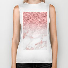 Rose-gold faux glitter and marble ombre Biker Tank