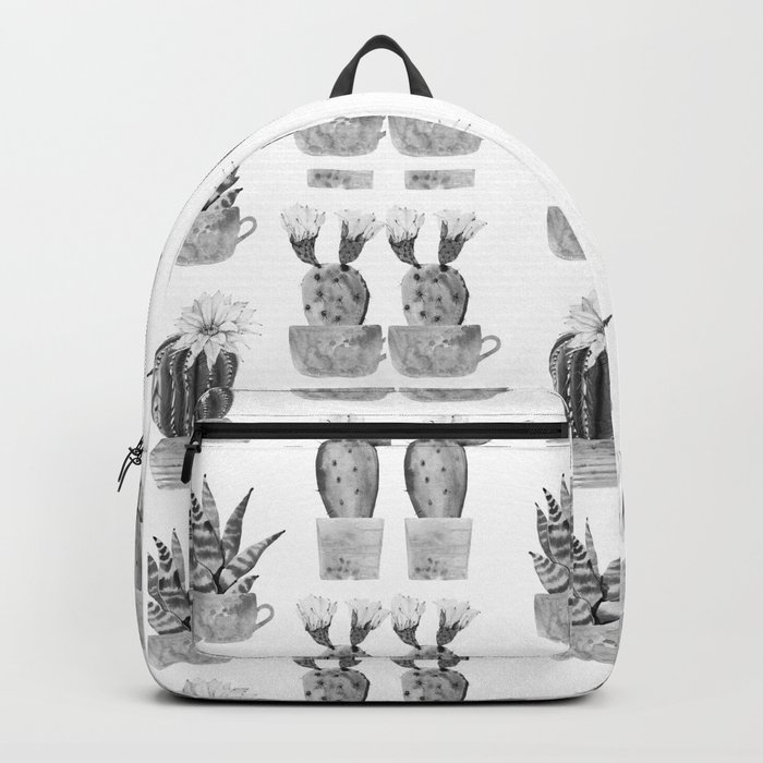 Potted Cactus Black and White Backpack