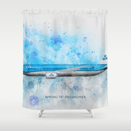 Klm Boeing 787 Dreamliner Shower Curtain