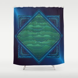 Wavescape lengthland Shower Curtain